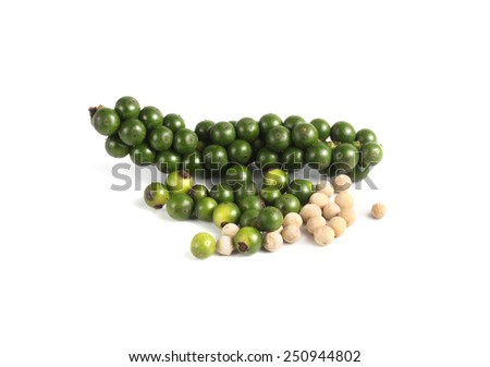 Fresh green peper on heap - stock photo
