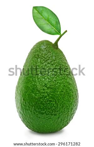 Fresh green ripe avocado whith leaf isolated on white background. Design element for product label, catalog print, web use. - stock photo