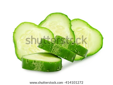 Fresh green ripe slices of cucumber isolated on white background. Design element for product label, catalog print, web use.