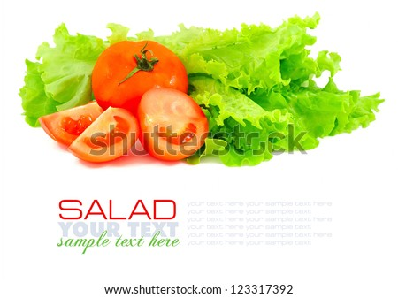 Fresh green salad and tomato isolated on white background
