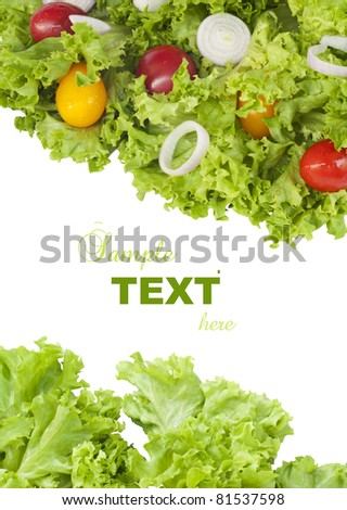 Fresh green salad and tomatoes with sample text on white background - stock photo