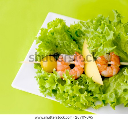 fresh green salad with prawns
