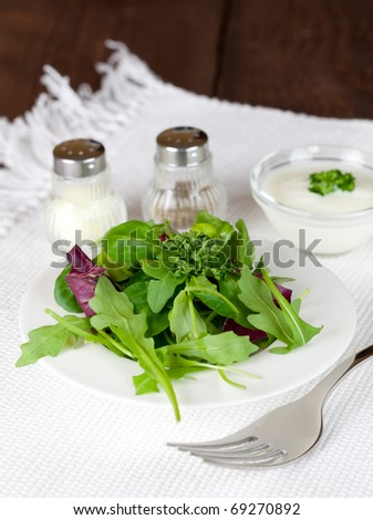 fresh green salad with salt and pepper
