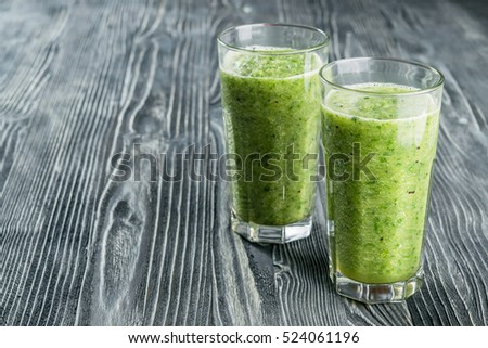 Fresh green smoothie from fruit and vegetables for healthy life, dietary eating, selective focus