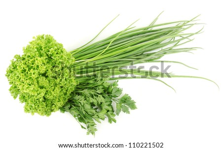 fresh green vegetables isolated on white - stock photo