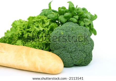 Fresh green vegetables, isolated on white, macro close up with copy space