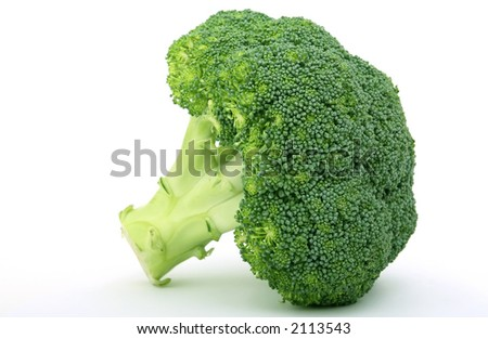 Fresh green vegetables, isolated on white, macro close up with copy space - stock photo