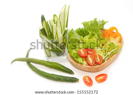 fresh green vegetables  salad - stock photo