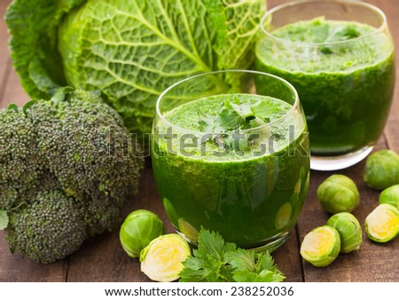 Fresh green vegetables with spinach smoothies - stock photo