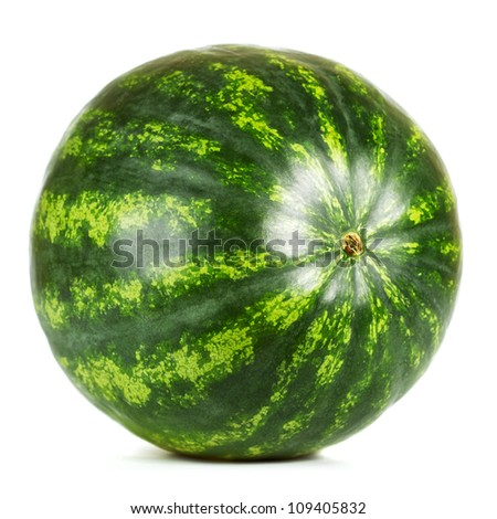 fresh green watermelon isolated on white background - stock photo