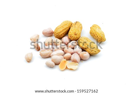 fresh ground nuts isolated on a white background - stock photo