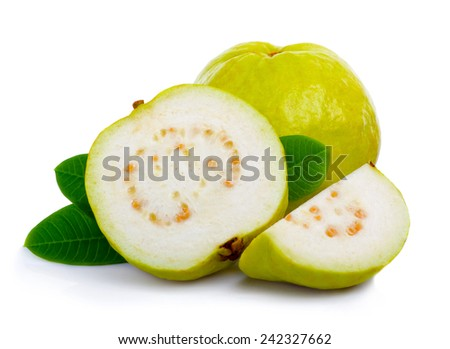 Fresh guava fruit with leaves and slices isolated white background - stock photo