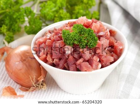 fresh ham diced in a bowl - stock photo