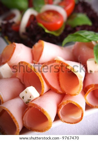 Fresh ham on a plate - stock photo
