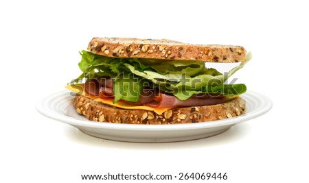 fresh ham sandwich on plate isolated on white  - stock photo