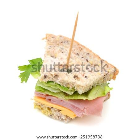 fresh ham sanwich with cheese, salad, cilantro - stock photo