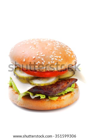 Fresh hamburger with meat and vegetables