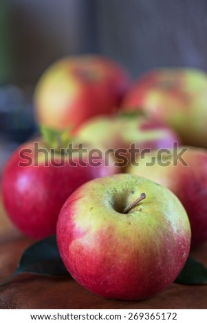 Fresh harvest of ripe apples. Nature fruit concept. - stock photo