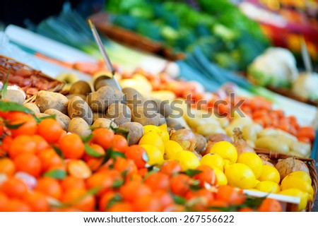Fresh healthy bio fruits and vegetables on Paris farmer agricultural market - stock photo