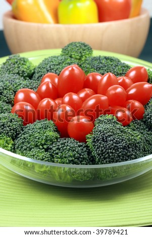 fresh healthy delicious organic  broccoli and cherry tomatoes  perfect organic vegetarian salad