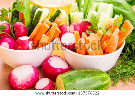 Fresh healthy juicy vegetables ready to eat - stock photo