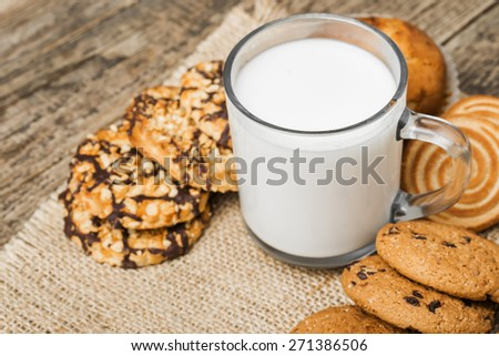 fresh healthy milk and cookies - stock photo