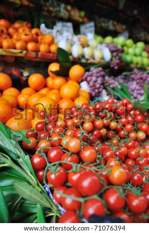 fresh healthy organic food  fruits and vegetables at market - stock photo