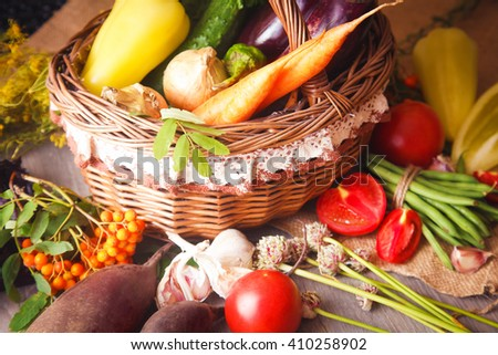 Fresh healthy organic vegetables in a basket - stock photo