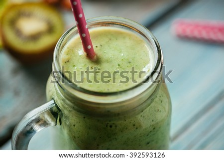 Fresh Healthy Smoothie With Drinking Straw - stock photo