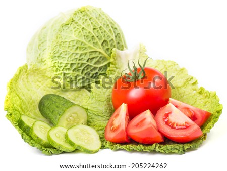 Fresh healthy vegetables isolated on white