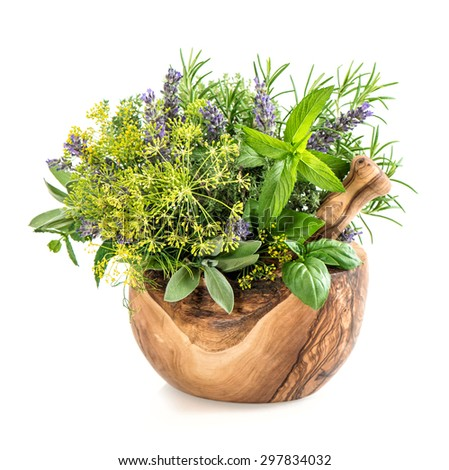 Fresh herbs and spices dill, rosemary, basil, mint, sage, lavender. Healthy food ingredients - stock photo