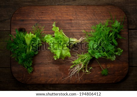 Fresh herbs over wooden background - stock photo