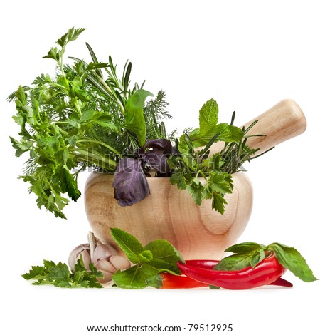 fresh herbs with spices isolated on white - stock photo