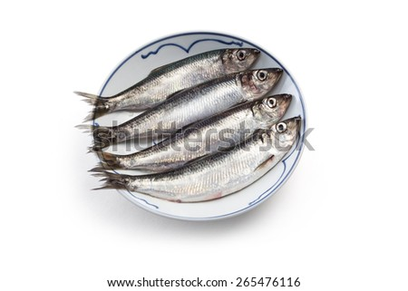 fresh herring in a plate, from Richmond BC Canada  - stock photo