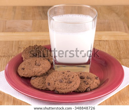 Fresh home made chocolate chip cookies - stock photo