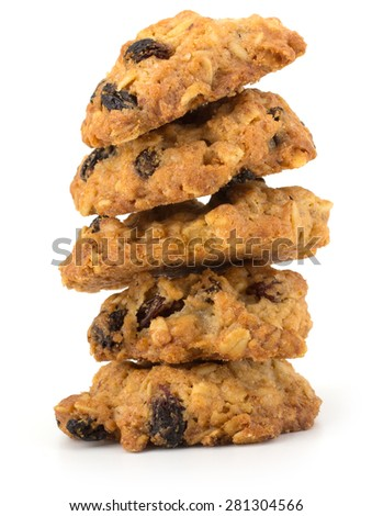 Fresh home made cookies with rasins isolated on white background - stock photo