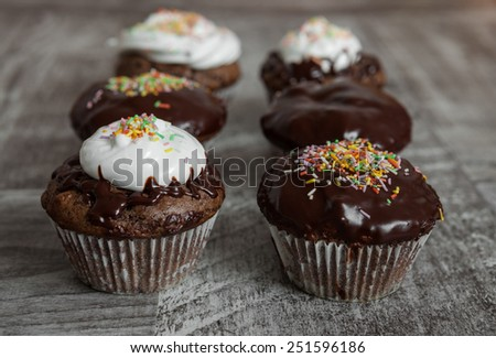 Fresh homemade chocolate muffins  - stock photo