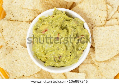 Fresh Homemade Guacmole against a back ground - stock photo