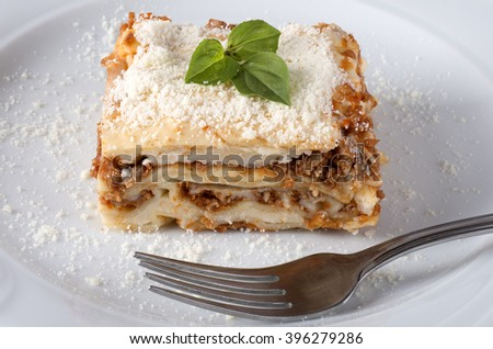 Fresh homemade Lasagne on a plate