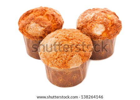 Fresh homemade muffins isolated on white. Clipping path included - stock photo