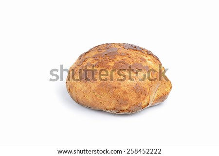 fresh homemade natural bread  on white background - stock photo