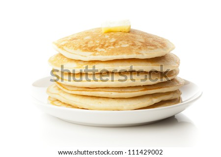 Fresh Homemade Pancakes with Syrup on a background - stock photo