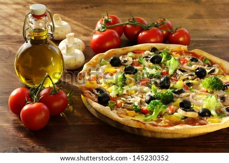 fresh homemade pizza with vegetables - stock photo