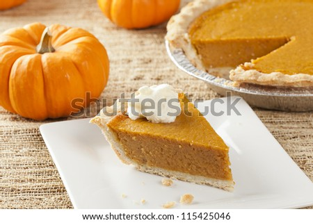 Fresh Homemade Pumpkin Pie made for Thanksgiving - stock photo