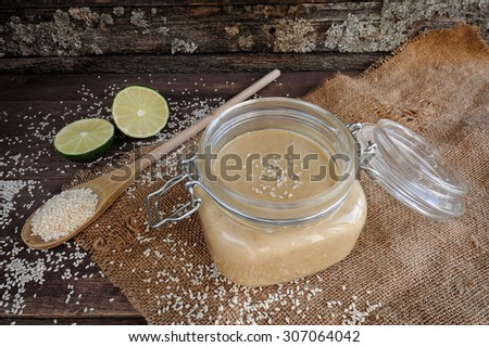 Fresh homemade Tahini (sesame paste) - stock photo