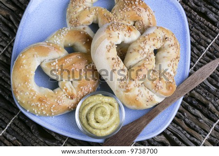 Fresh, homemade, warm and chewy pretzels