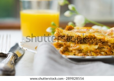 Fresh Hot Lasagna on a Plate Homemade Delicious Food - stock photo