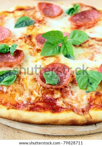 Fresh hot pepperoni pizza - closeup