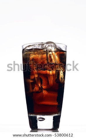 fresh, ice cold Cola in glass