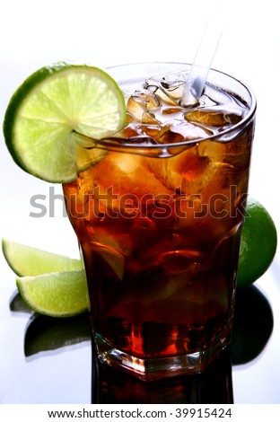 fresh ice tea with ice